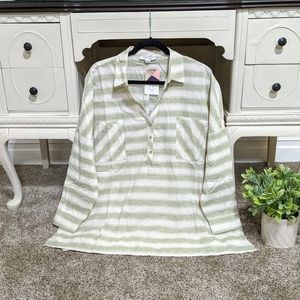 Plus Size | Cozy Striped Top With Front Pockets